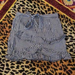 Women plaid gingham blue and white layered skirt